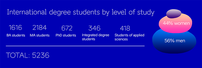 international degree students by level of study